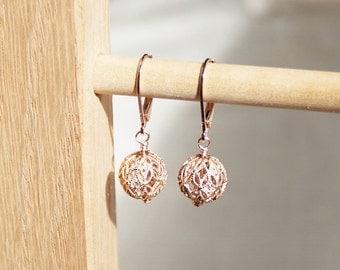 Handmade Rose Gold Earrings Rose Gold Round Earrings Rose Gold CZ Earrings Cubic Zirconia Earrings Crystal Earrings Rose Gold Filigree