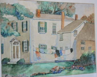 Charming Vintage Watercolor Painting Clothes on the Line Governor's House Monday Morning