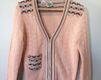 80s Peach Pink Fairisle Zipper Cardigan