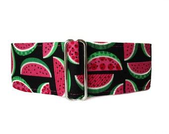 Martingale Watermelon, Watermelon Dog Collar, Greyhound Collar, 2 Inch Martingale Collar, Hot Pink Martingale Collar, Huggable Hound