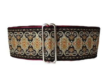 Jacquard Martingale Collar, 2 inch Martingale Collar, Christmas, Jacquard Dog Collar, Black, Ivory, Greyhound Collar, Sighthound Collar