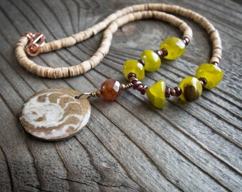 Moroccan Fossil Necklace - Green