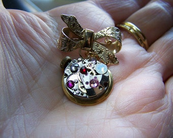 Vintage Gold Bow Pin with Watch Works Dangle - Steampunk Design