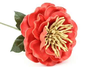 Leather Flower Peony Coral Pink Third Wedding Long Stem Leather Flower Valentine's Day 3rd Leather Anniversary Mother's Day Anniversary Gift