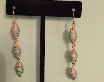 Hand-rolled paper bead earrings, paper bead earrings,