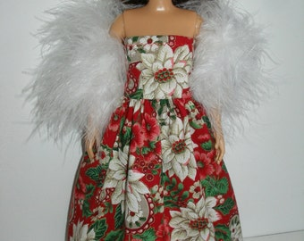 Handmade doll clothes -  red, green and white poinsettia Holiday print gown with  boa