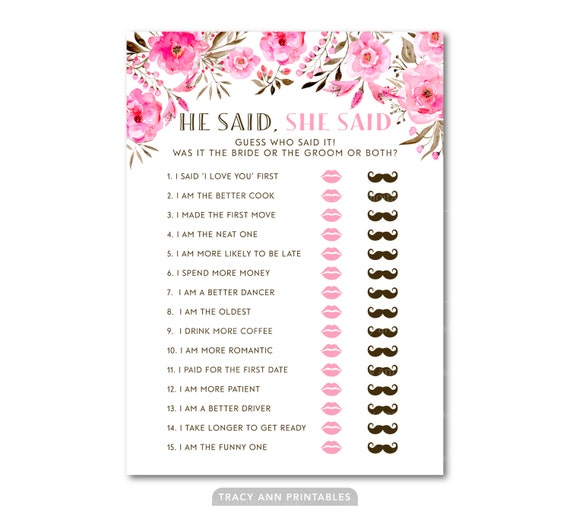 He said she said bridal shower game wedding shower game for He said she said bridal shower game template