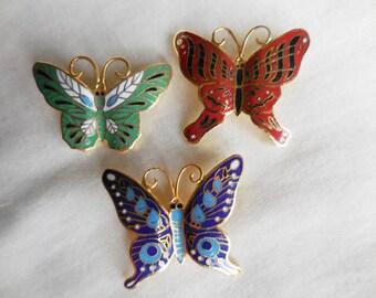 DESTASH Lot of 3 Vintage Enamel BUTTERFLY PINS Brooches
