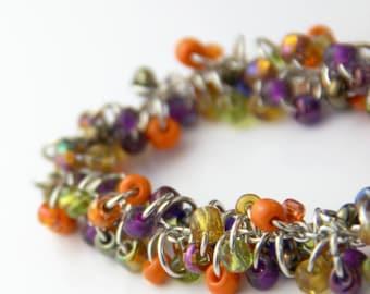 Festive Color Cluster Bracelet - Colorful Orange Purple Lime Green Golden Yellow Silver Bracelet Rainbow Multi Color Fall