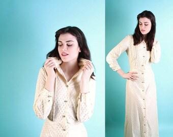 SALE 65% OFF ends 02/16 Wedding Dress / Vintage Wedding Dress / Dress / Beige / Long Wedding Dress  / Informal Wedding Dress / 1970s Dress /