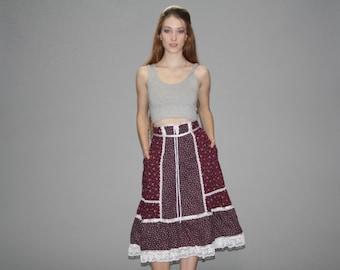 Gunne Sax Vintage 1970s Skirt - 70s Floral Skirt - 1970s Prairie Skirt  - Vintage Gunne Sax - WB0372