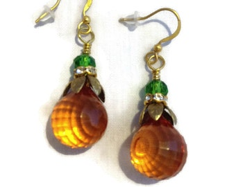 Orange Briolette Bead Earrings - Fall -Autumn - Orange - Autumn Jewelry - Fall Jewelry - Autumn Fall Colors Pumpkin