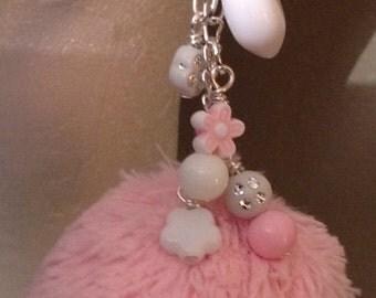 Pink Pom Pom/Kitsch Earrings/Kawaii Earrings/Plush Faux Fur Earrings/Fur Pom Pom/Fun Fashion Furry Earrings/Repurposed/CLEARANCE PRICE Sale