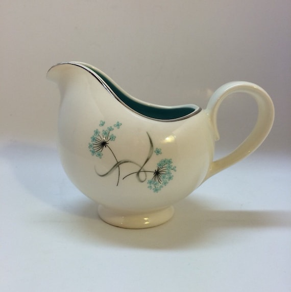 Vintage Creamer with Turquoise Blue Flowers