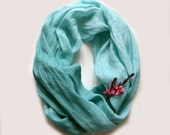 Aqua Blue Linen Scarf - Aquamarine Scarf - Beach Wedding Scarf - Bridesmade Accessories - Bohemian Fashion - Beach Fashion - Infinity Scarf