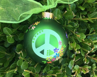 Peace Symbol Ornament, Hand Painted, Personalized Christmas Ornament, FREE Personalizing, Hostess Gift, Yoga Teacher Gift, Peace Sign