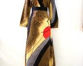 Vintage Tori Richard Maxi Dress - Asian Style Designer Maxi Dress - Long Sleeve Boho Chic Dress - Tan Brown Maxi - Size Large to X Large 16