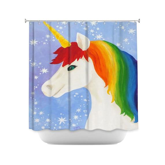Rainbow Unicorn Kids Shower Curtain Girls Bathroom Decor