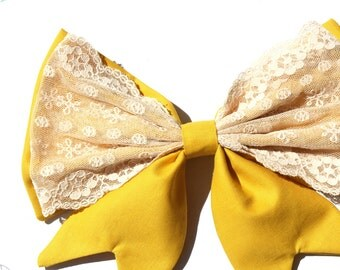 Large Retro Clip Bow, Pretty Lace, Yellow, Retro