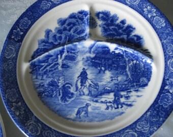 Five Vintage Blue & White Grill Plates / Transferware / Farm Scene