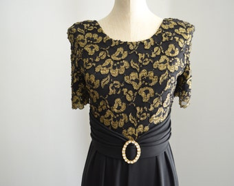 Vintage 70s Black Crepe Gold Lace Belted  JUMPSUIT by RHAPSODY Free Shipping US