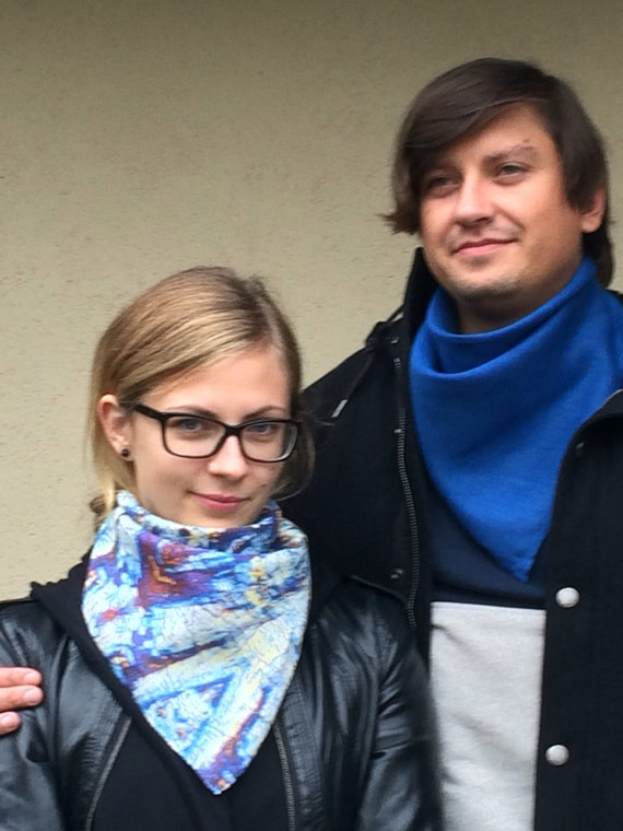 Bandanas for couple, set of 2 blue square linen neck scarves for him and her, gift for couple