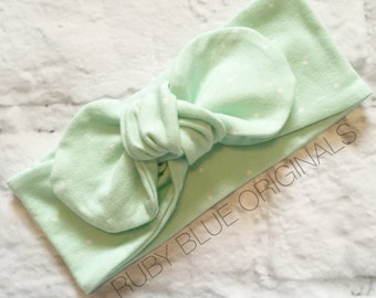 Knot Bow Head Wrap in Soft Mint Dot Cozy Cotton