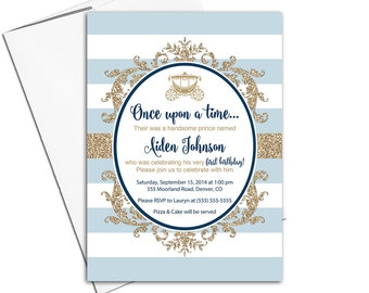 First birthday invitation boy | printable or printed | boys 1st birthday party invites | blue gold | prince birthday party theme - WLP00365