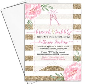 Bridal Shower Brunch Invitation | Brunch and bubbly invitation | pink gold floral bridal shower invitation | printable or printed - WLP00601