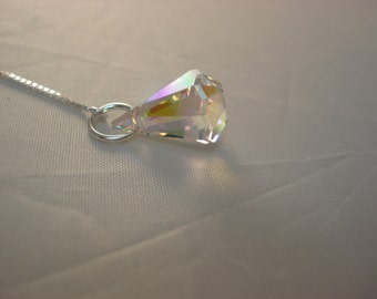 Clear Rainbow Swarovski Crystals on Sterling Ear Threads- Threader Earrings-Necklace-FREE SHIPPING To U.S.-