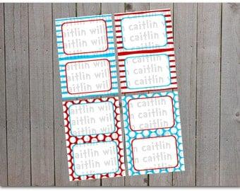 Printable Red, White, and Blue Table Tents - Food Labels - INSTANT DOWNLOAD - Cat in the Hat Inspired - Stripes and polka dots