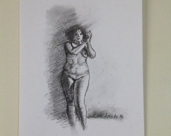 Bellydancer Original Charcoal Drawing, Small Format, Nude Drawing, Realistic Art
