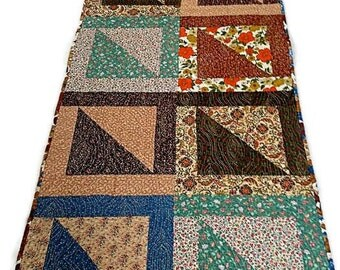 """Quilted Table Runner / Table Topper / Bed Runner – Extra Long - Shades of Brown, Tan, Rust, Green, Blue – 22-1/2"""" wide x 57-1/2"""" long"""