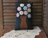 Primitive Pastel Flower Wool Pillow Folk Art Pillow