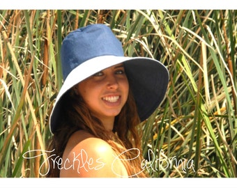 Navy and White Sun Hat Boating Hat Yachting Sun Hat by Freckles California
