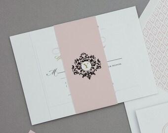 Monogram French Baroque Wedding Invitation Digital Download,French Monogram Wedding Printable Invitation,French Invites Digital Download