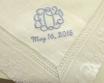 Ivory Color Irish Linen Lace Handkerchief with Interlocking Style 3-Initial Monogram and Date