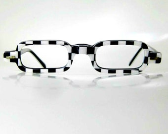 Vintage 1960s Checkboard Reading Glasses Half Frame 60s USA American Made Womens Ladies Black and White Graphic Plaid Hipster Chic Sixties