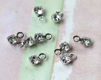 24pcs Swarovski Components Crystal Clear AB Drop Silver Plated 3.0-3.2mm Faceted Round Austrian Model PP24
