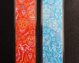 Day of the Dead Calaveras Skull Bookmark in Teal Blue or Red