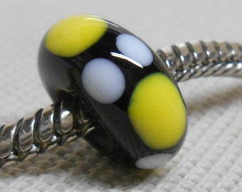 Glass Lampwork Bead Large Hole European Charm Bead Black with White and Yellow Dots