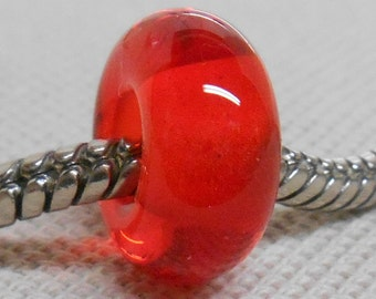 Glass Handmade Lampwork Bead Big Hole European Charm Bead Transparent Orange BHB