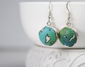 Drop Earrings, Textile Jewelry, Minimalist Drop Earrings Sterling Silver, Boho Chic