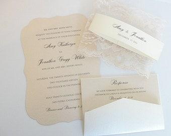 Wedding Invitation, Blush Wedding Invite, Lace Wedding Invite, Elegant Wedding Invitation, Scallop Wedding Invite, SCALLOPS BLUSH