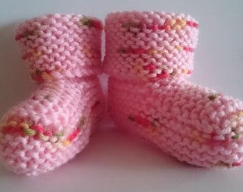 Hand dyed Pure Soft Australian Merino Wool Pink Baby Socks Slipper Booties Suit Baby 3 to 6 Months