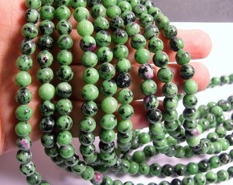 Ruby zoisite - 8mm - 50  beads  -1 full strand - RFG564