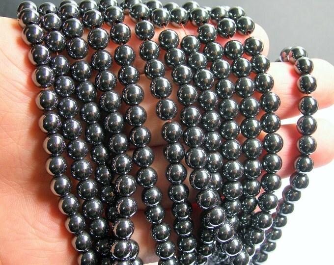 Hematite - 6 mm round beads - full strand - 68 beads - AA quality -  RFG513