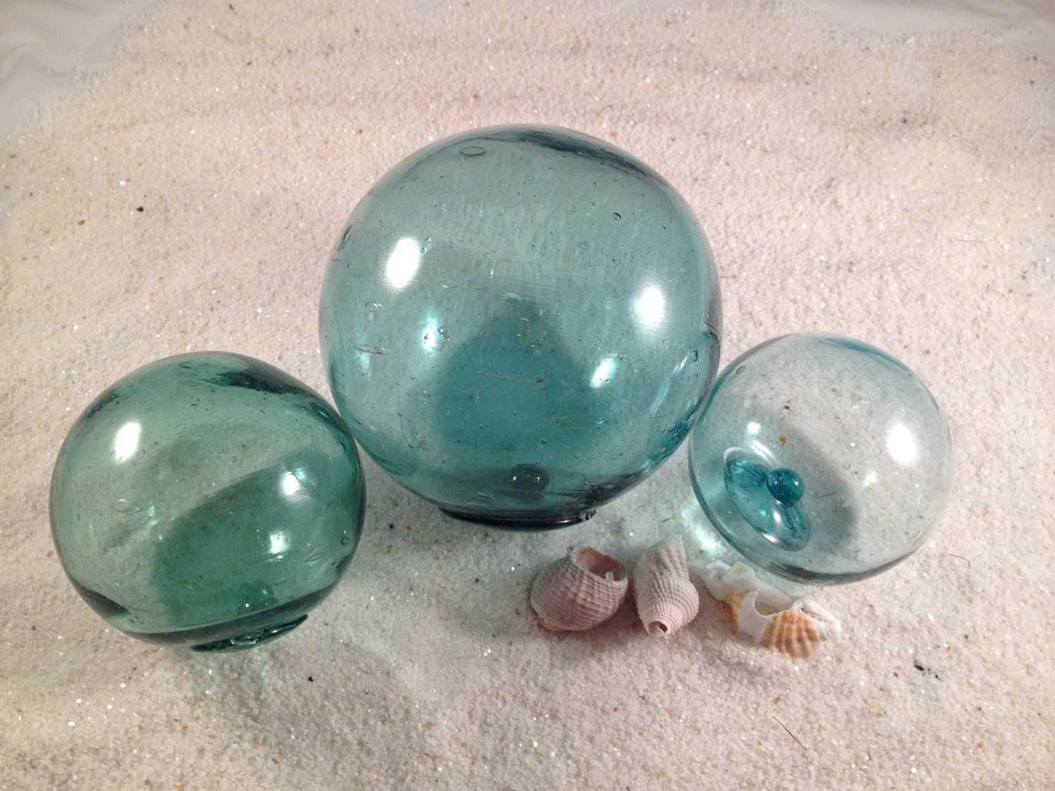 Japanese glass fishing floats set of 3 in different sizes for Japanese glass fishing floats