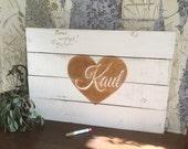 Wedding Guest Book Alternative, Gold and White Wedding Signs Rustic, Wedding Signage, Personalized Wedding Sign, Wood Plank Art, Cedar Plank