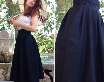 YVES SAINT LAURENT Rive Gauche 1970s black wool skirt size small